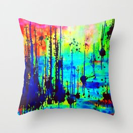 Waterlily Cat tails Throw Pillow