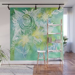 Watercolor Green and Yellow Bloom Floral Botanical Line Drawing Wall Mural