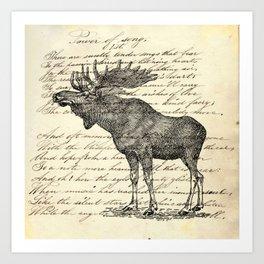 western country primitive winter mountain animal wildlife moose Art Print