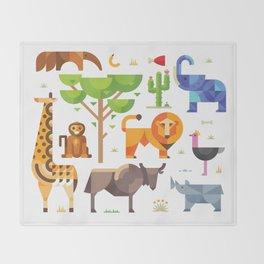 Geometric animals in savannah Throw Blanket