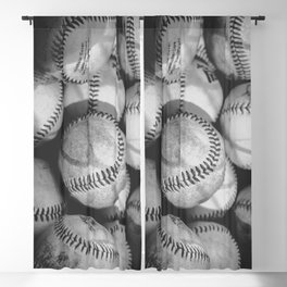 Baseballs in Black and White Blackout Curtain