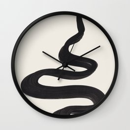 Minimalist Abstract Art Smoke Genie In The Lamp Mythical Magical Ink Art Black & White Wall Clock