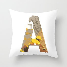 A as Archaeologist Throw Pillow