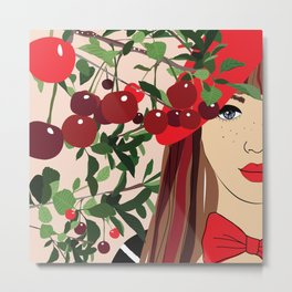 Cherry Girl With Red Beret Metal Print