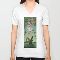 haunted mansion V-neck T-shirts featuring Disquieting Metamorphosis - Haunted Mansion by Patricia Cervantes