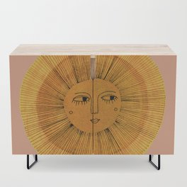 Sun Drawing Gold and Pink Credenza