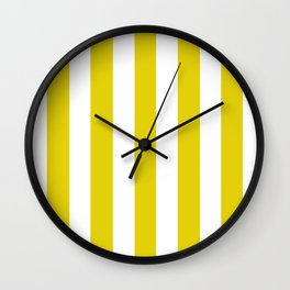 Citrine yellow - solid color - white vertical lines pattern Wall Clock