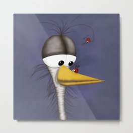 Ernie the Naked Egret and his Visitors Metal Print