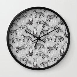 Fox pattern drawing foxes cute andrea lauren grey forest animals woodland nursery Wall Clock