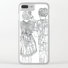 Geometric Japanese Black and White Linework Love couple Clear iPhone Case