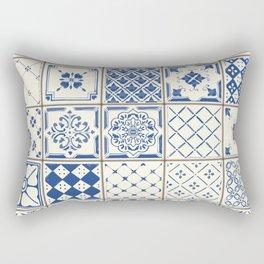 Blue Ceramic Tiles Rectangular Pillow