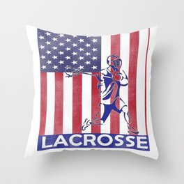 Lacrosse Flag print LAX Player Coach Team product Throw Pillow