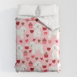 Bichon Frise valentines day dog gifts pet art portraits of your furry friend dog breeds Comforters