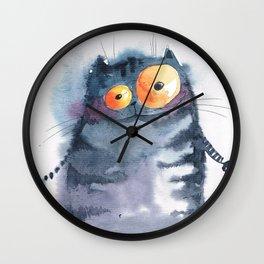 Grey cat Wall Clock