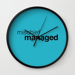 Blue Mischief Managed Wall Clock