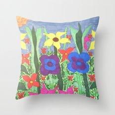 Bohemian Garden Floral Ilustration Throw Pillow