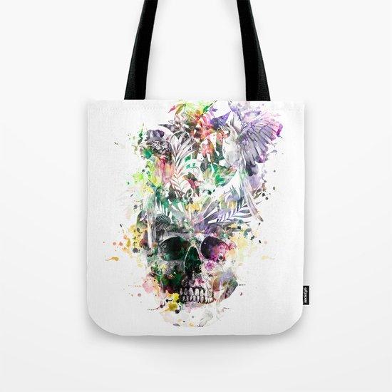 Skull - Parrots 2 Tote Bag