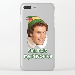 smiling's my favorite Buddy the Elf Christmas move Will Ferrell Clear iPhone Case