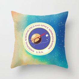 nasa vintage nebula space travel poster Throw Pillow