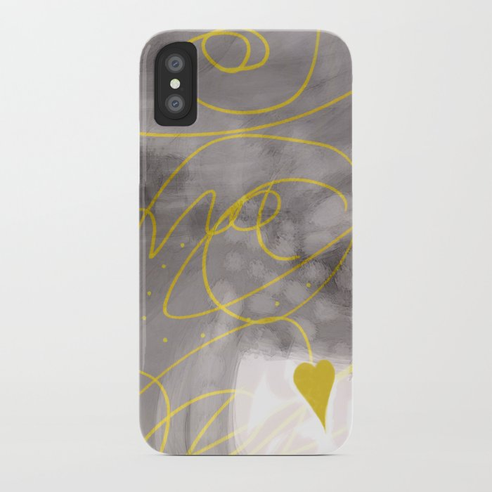 Heart Yellow And Gray Abstract Art By Ann Powell IPhone