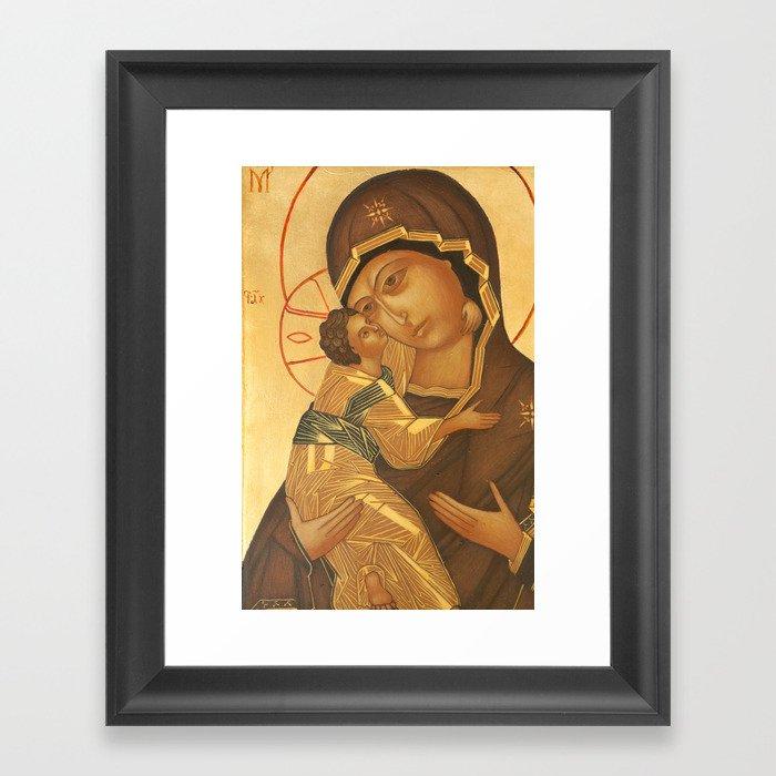Black Jesus Wall Art: Orthodox Icon Of Virgin Mary And Baby Jesus Framed Art
