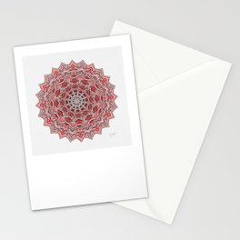 12-Fold Mandala Flower in Red Stationery Cards