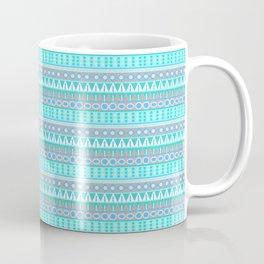 Aqua Blue and Gray Aztec Tribal Pattern Coffee Mug