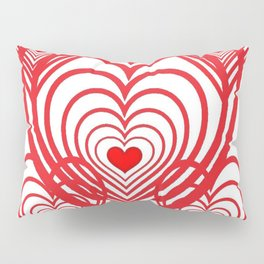 0PTICAL ART RED VALENTINES HEARTS IN HEARTS DESIGN Pillow Sham