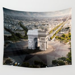 Arc de Triomphe half wrapped Wall Tapestry