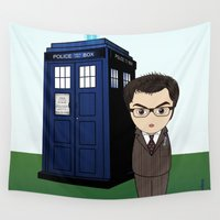 dr who Wall Tapestries featuring Kokeshi Dr. Who by Pendientera