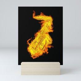 Saxophone On Fire Jazz Sax Lover Gift Idea Mini Art Print