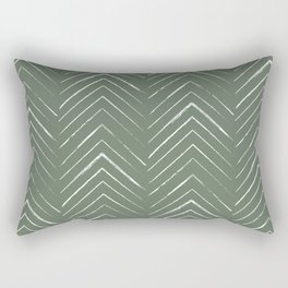 Olive Green Geometric Arrows Rectangular Pillow