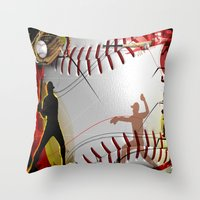 baseball Throw Pillows featuring Baseball by Robin Curtiss