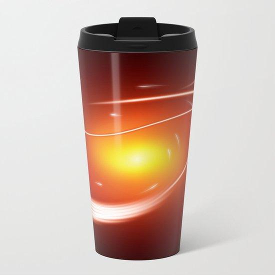 Red Glow Lines Metal Travel Mug