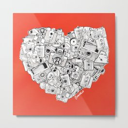 Camera Heart - on red Metal Print