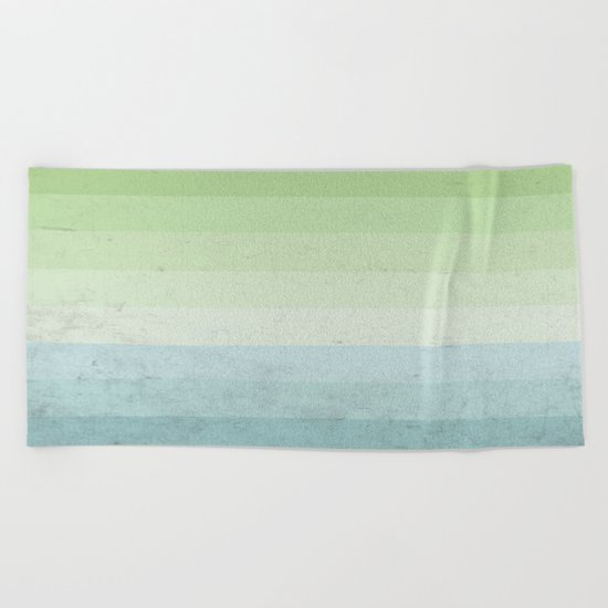 Fresh Cyan Lime Stripes Beach Towel