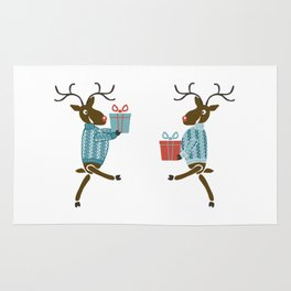 Funny christmas reindeer in sweaters with gifts Rug