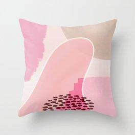 EMMA :: Modern Abstract Painting Brush Strokes Color Palette Light Pink Fuchsia Blush Pop Art Throw Pillow