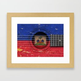 Old Vintage Acoustic Guitar with Haitian Flag Framed Art Print