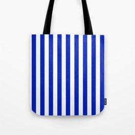 Cobalt Blue and White Vertical Beach Hut Stripe Tote Bag
