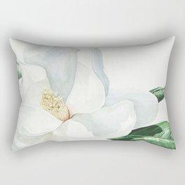 Watercolor Magnolia Blossom Rectangular Pillow
