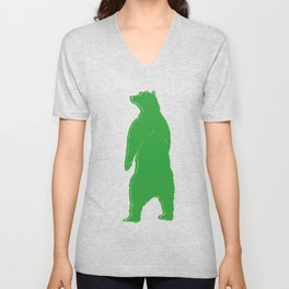 Papa bear in the dark - green Unisex V-Neck