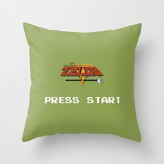 Zelda press start Throw Pillow
