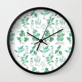 green herbs family watercolor Wall Clock