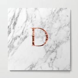 Monogram rose gold marble D Metal Print