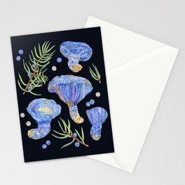 Indigo Milk Cap Mushrooms and Juniper - Dark Stationery Cards