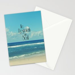 He Restoreth My Soul Bible Verse with Beach Stationery Cards