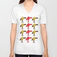 birdman V-neck T-shirts featuring Surreal Birdman by SlugBoy