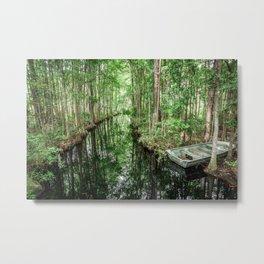 Swamp Boat Metal Print