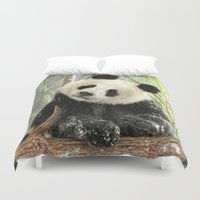 china Duvet Covers featuring China Bear by Trudi Simmonds